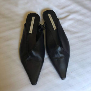 Zara Black Leather Point Nose Open Back Loafers 38